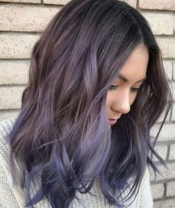 Deep Purple Balayage in Dark Brown Hair