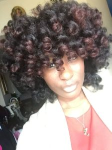 Burgundy ombre perm rod set