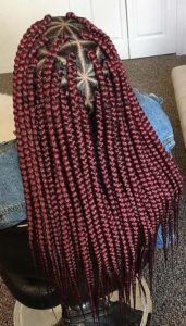 Burgundy triangle box braids