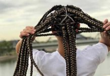 Extra large triangle box braids