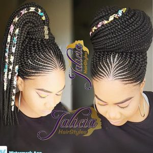 Feed in big high bun with hair beads and fabrics