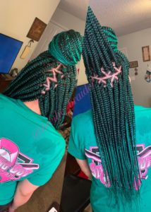 Green latern triangle box braids