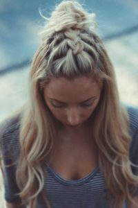 French Braid and Topknot