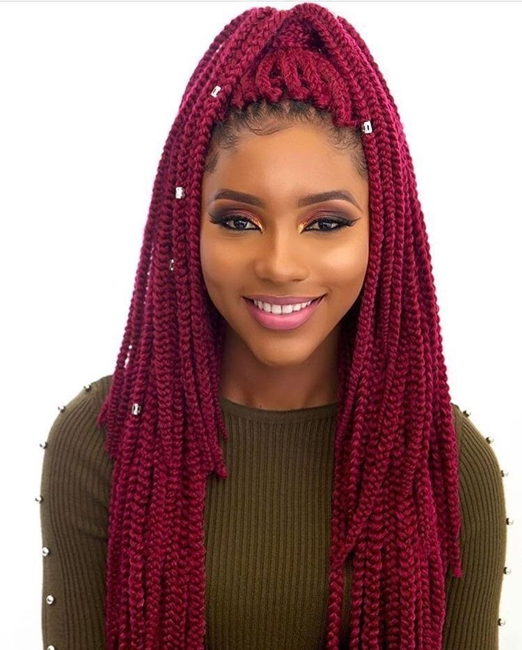 40 Red Box Braids Styles For Every Occassion