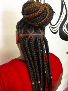 Jumbo dark and medium triangle box braid