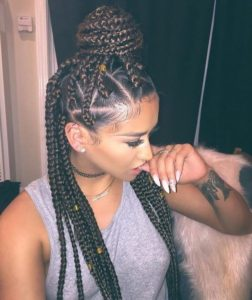 Light brown highlights triangle box braids
