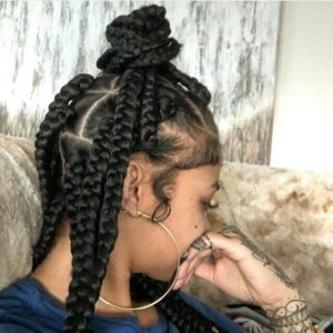 Medium length triangle box braid