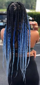 Navy to Baby Blue triangle box braids