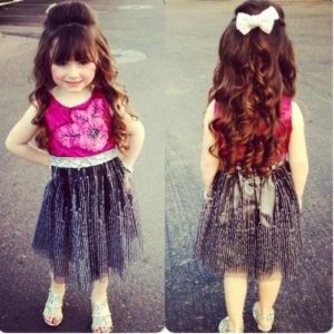 Lovely Half-Up Style with Bangs