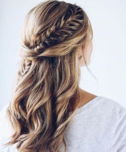 Plaited half updo