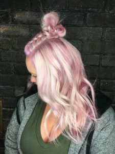 Platinum and Pink hair color idea