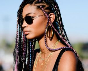 Rainbow triangle box braids