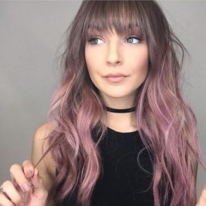 Chocolate Hair with Dusty Rose Highlights