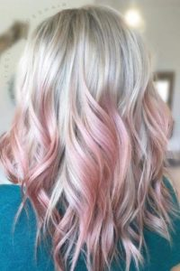 Icy Blonde with Rose Pink Balayage