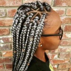 Silver triangle box braids