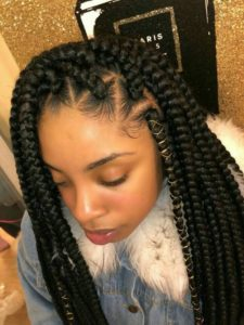 Threaded triangle box braids