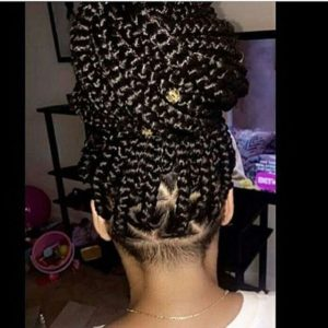 Triangle Box Braid in a top bun