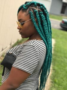 Turquoise Triangle box braid