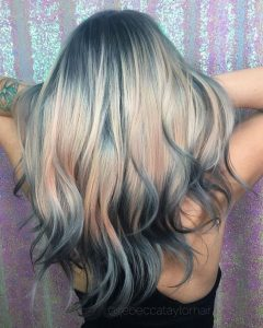 Blue Grey To Pink Ombre Balayage