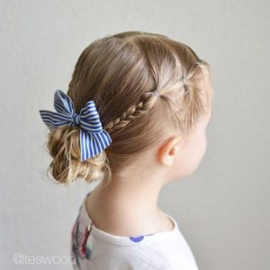 braid and bun with bow