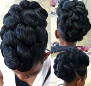 chunky braid black updo