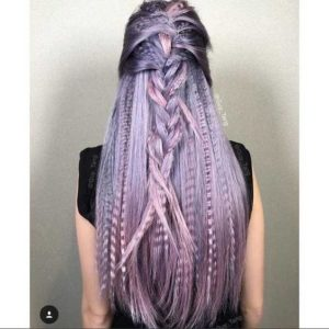 crimped lavender hair with braids