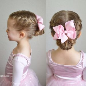 double french braid bun with big bow