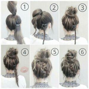 easy rope twist bun with braid