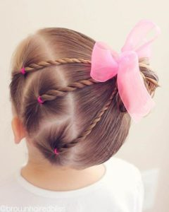 hair twist with bow