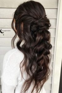 half up half down wavy brunette hair