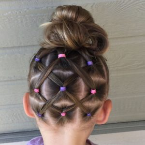 high bun with elastics
