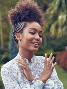 natural curl puff and hair rings