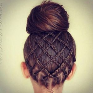 pineapple braid weave topknot