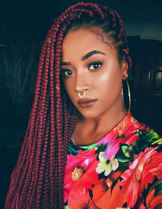 red box braids styles