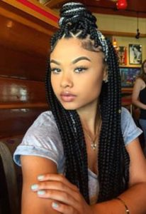 white highlights triangle box braids