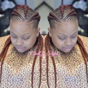 4 long red fishbone braids