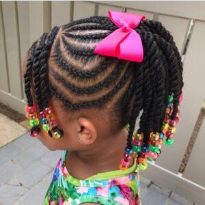 Beads and box cornrow ponytail