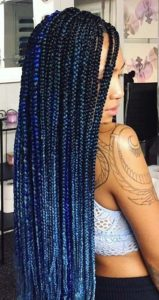 Blue ombre crochet box braid