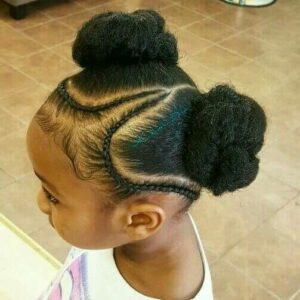 Braided side part buns little black girl
