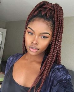 Burgundy Box Braids Ponytail
