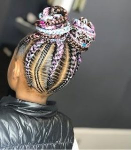 Color extension braids for girls