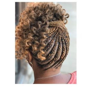 Criss crossed braids on highlighted hair