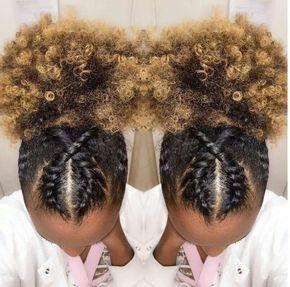 Crossed cornrows afro puff