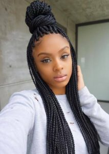 Half Up High Bun Box Braids