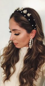 80s-Inspired Velvet and Pearl Headband