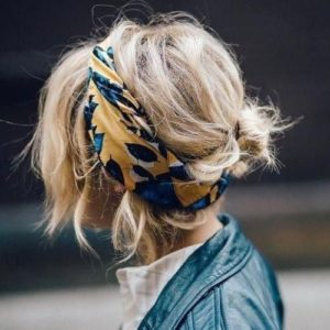 Messy Short Up-Do With Chunky Headband