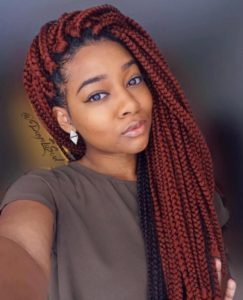 Muted red large crochet box braids