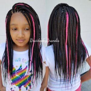 Pink highlights box braids