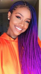 Purple crochet box braids