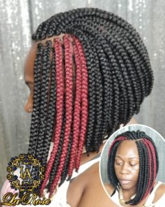 Red road short crochet box braid
